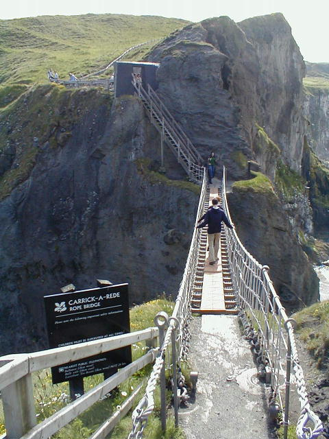 Carrick a Rede Bridge with People