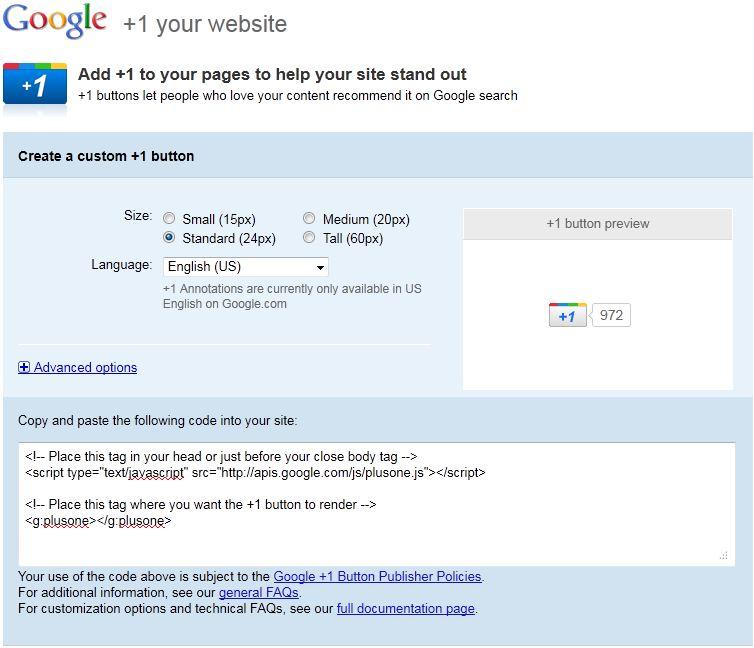 Google +1 Button Configuration