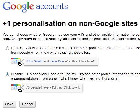Google +1 Preferences