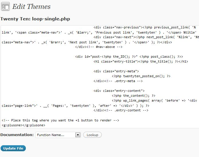 Wordpress Theme Editor loop-single.php