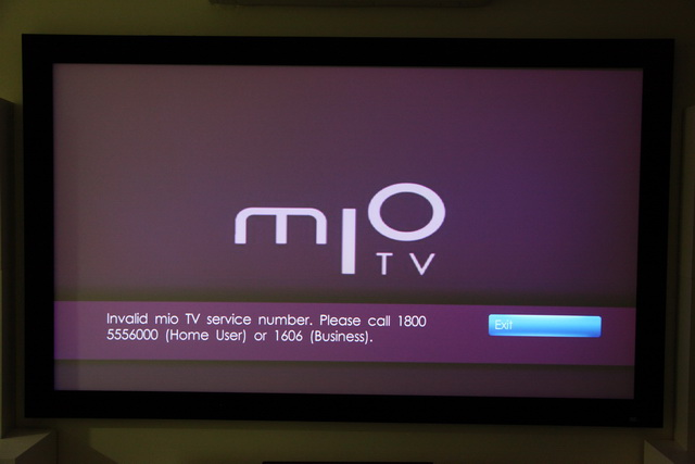 Invalid mio TV Service Number
