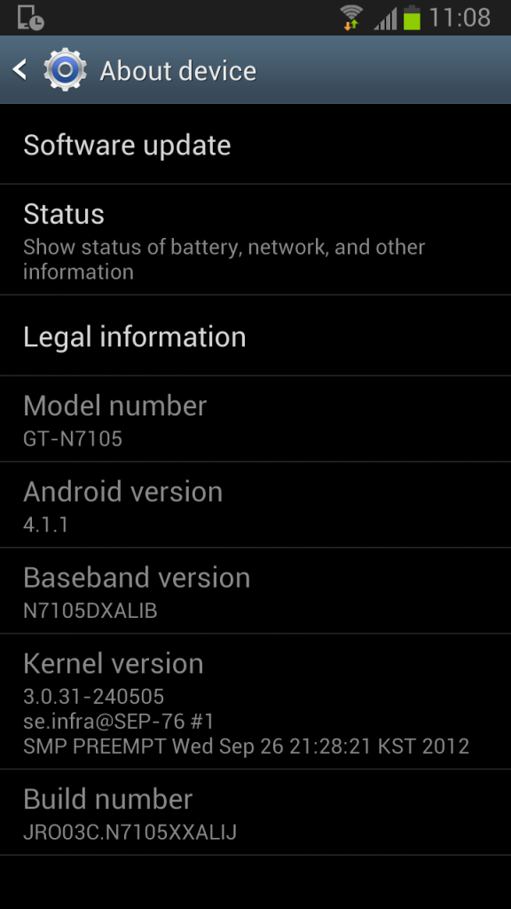 Samsung Galaxy Note II LTE - About Information for Original Firmware