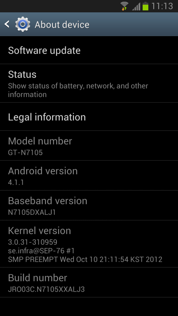 Samsung Galaxy Note II LTE - About Information for New Firmware