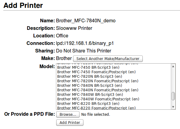 Brother Printer Driver Selection - Slow